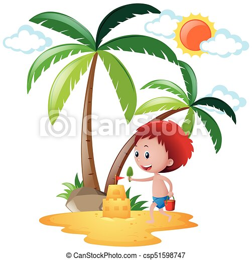 summer scene with boy playing sandcastle illustration eps vector rh canstockphoto com sand castle clip art black and white sand castle clip art free