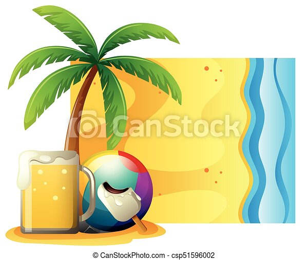 summer scene with fresh beer and ball on the beach vector clipart rh canstockphoto com beach scenery clipart clip art beach scenes free