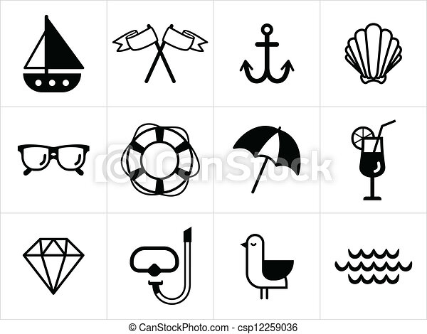 summer sea icons in black and white https www canstockphoto com summer sea icons in black and white 12259036 html