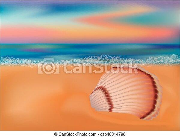 Summer Sea Shell Wallpaper Vector Illustration