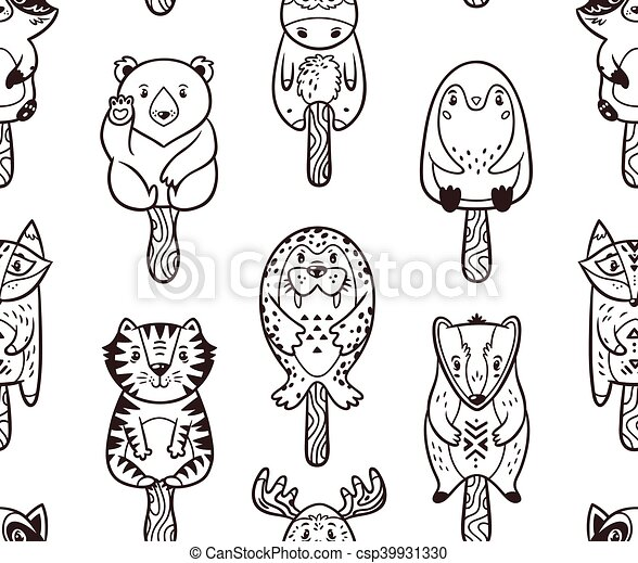 Summer seamless popsicle pattern with cartoon animals on a stick - csp39931330