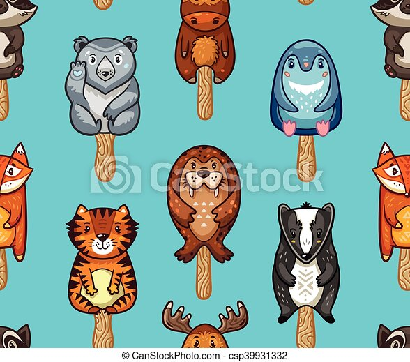 Summer seamless popsicle pattern with cartoon animals on a stick - csp39931332