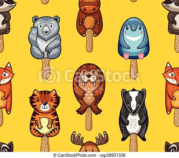 Summer seamless popsicle pattern with cartoon animals on a stick - csp39931336