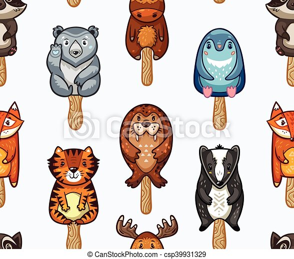 Summer seamless popsicle pattern with cartoon animals on a stick - csp39931329