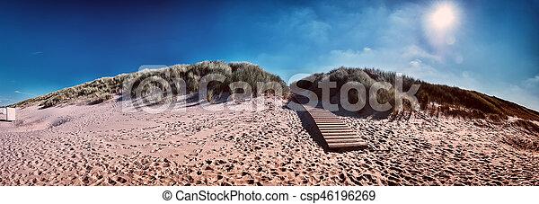 Summer seaside landscape with sand dunes. North sea coast - csp46196269