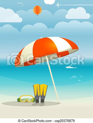 Summer seaside vacation illustration - csp20376879