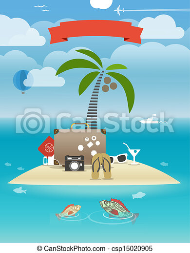 Summer seaside vacation illustration - csp15020905