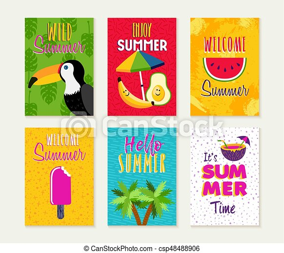 Summer Season Card Quote Set For Beach Vacation