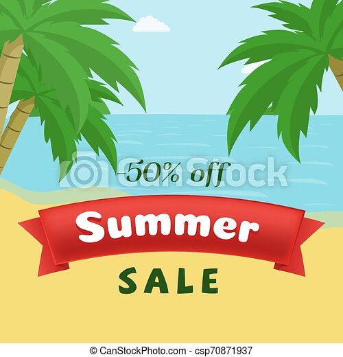 Summer seasonal sale flat banner template. Hot season 50 percent discount on seascape with palm trees background. Reduced price promo on red ribbon advertising, seasonal clearance offer poster - csp70871937