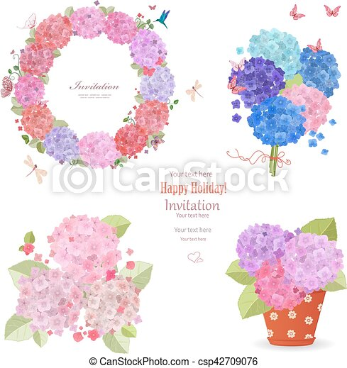 summer set of hydrangeas. wreath, bouquets and flowers planted i - csp42709076