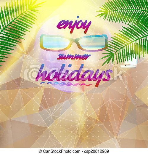 Summer sky with sun wearing sunglasses. - csp20812989