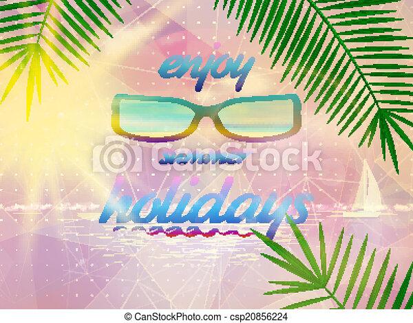 Summer sky with sun wearing sunglasses. - csp20856224