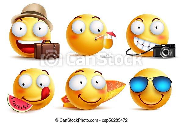 Summer smileys vector set with facial expressions - csp56285472