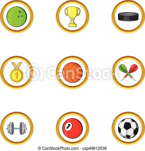 Summer sport icon set, cartoon style - csp49612036
