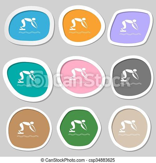 Summer sports, diving symbols. Multicolored paper stickers. Vector - csp34883625