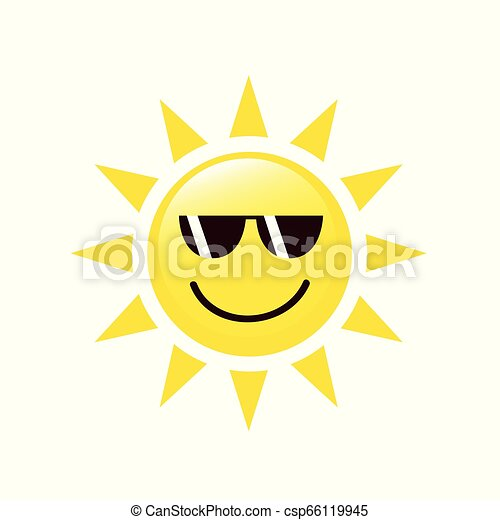 summer sun face with sunglasses and happy smile - csp66119945