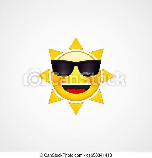 Summer Sun Face with sunglasses and Happy Smile - csp58341418