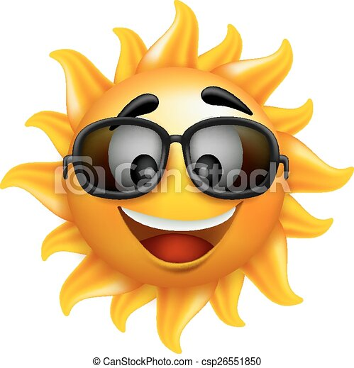 Summer Sun Face with Sunglasses - csp26551850