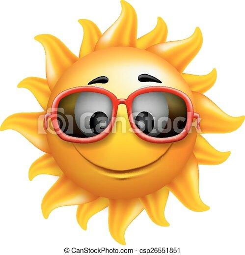 Summer Sun Face with Sunglasses - csp26551851