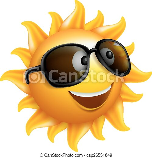 Summer Sun Face with Sunglasses - csp26551849
