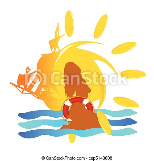 summer sun sign vector illustration - csp5143608