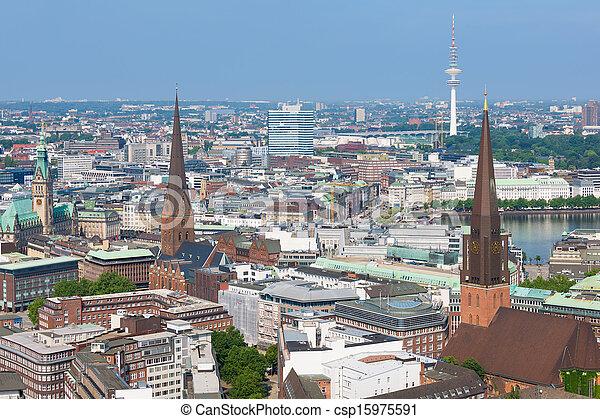 Summer sunny day in Hamburg - csp15975591