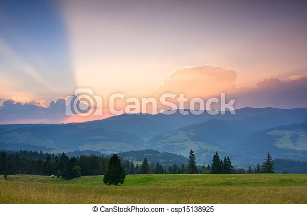 Summer sunrise in the mountains - csp15138925
