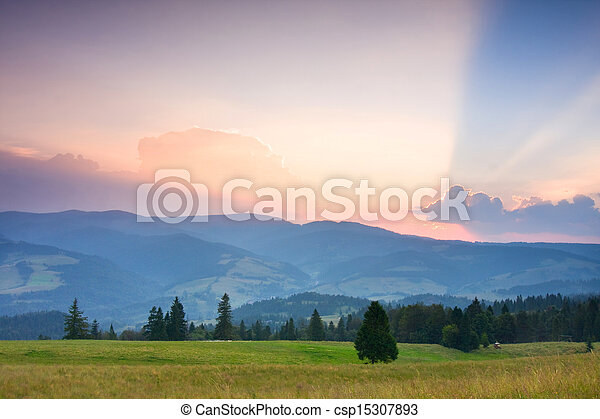 Summer sunrise in the mountains - csp15307893