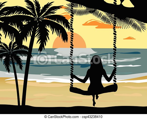 Summer Sunset Beach Vector With Silhouette Woman Clip Art