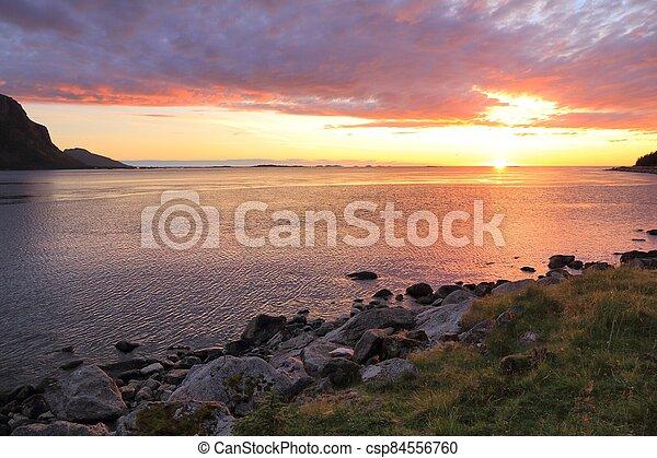 Summer sunset in Norway - csp84556760
