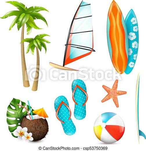 summer surf vacation items set summer surf vacation clip art rh canstockphoto com clip art vacation bible school clipart vacation bible school