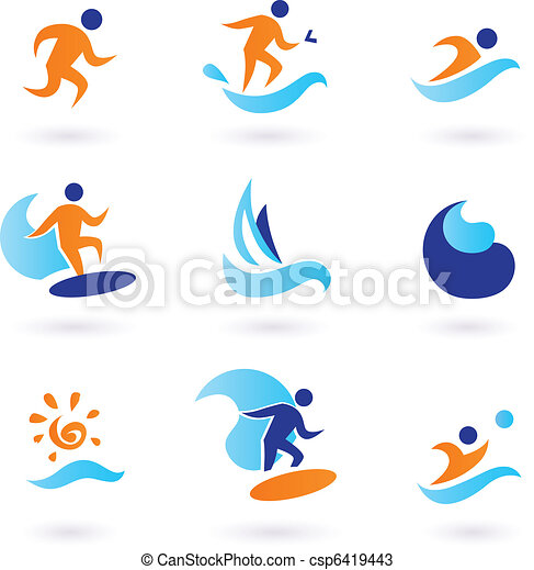 Summer swimming and surfing icons - blue, orange  - csp6419443