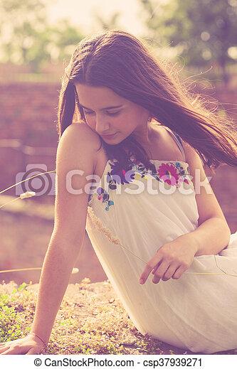 summer teen girl portrait - csp37939271
