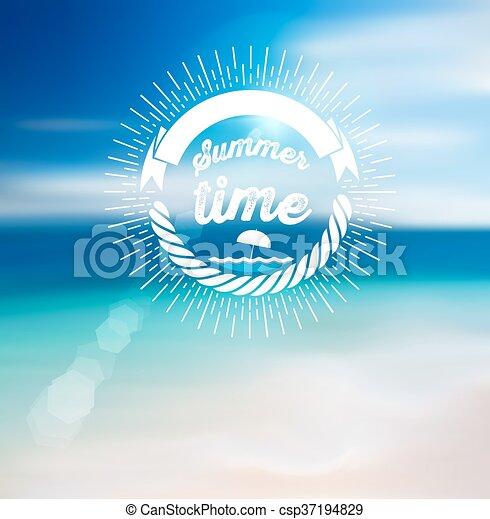 Summer Time Design with Blur Beach Background. - csp37194829