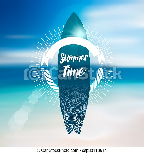 Summer Time Design with Surf Board and Blur Beach Background. - csp38118614