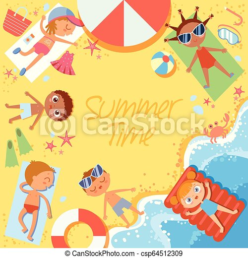 Summer time. Group of children sunbathing on the beach. Top view. Flat style - csp64512309