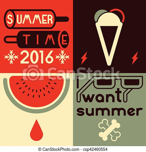 Summer time typographical poster. Vector illustration. - csp42460554