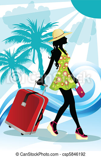 Summer traveling woman - csp5846192