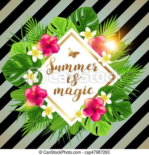 Summer tropical banner - csp47987263