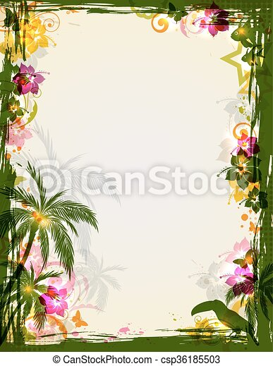 Summer tropical frame. Vector bright tropical frame with palms and ...