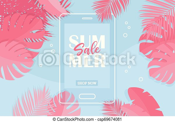 Summer Tropical Sale Banner with coral colors -Vector - csp69674081