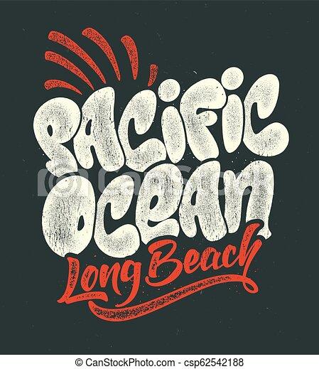 ef818235 summer tropical surf print pacific ocean vector illustration. - csp62542188