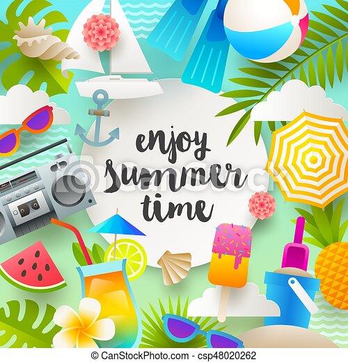 Summer Vacation And Holidays Illustration