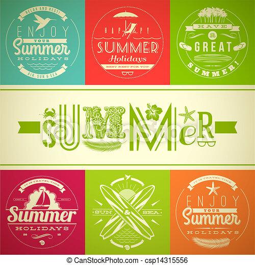 Summer vacation and holidays emblem - csp14315556