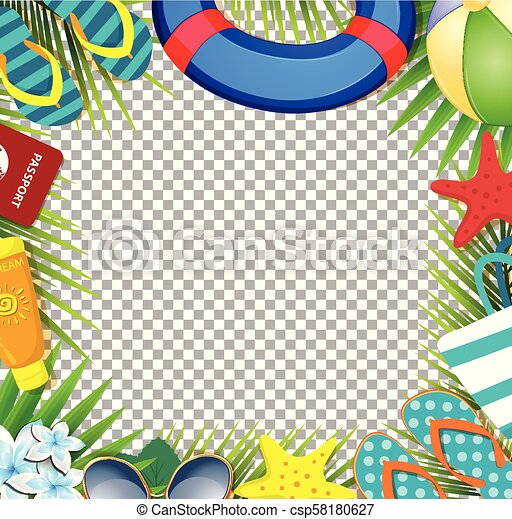 Summer vacation beach accessories and palm leaves on transparent background
