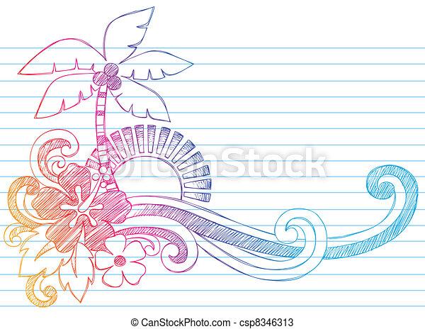 Summer Vacation Beach Doodle - csp8346313