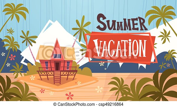 Summer Vacation Bungalow House On Sea Beach Landscape Beautiful Banner Seaside Holiday