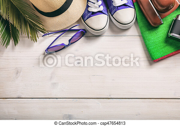 Summer vacation concept on white background - top view - csp47654813