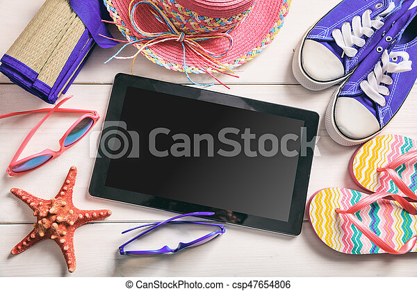 Summer vacation concept on white background - top view - csp47654806