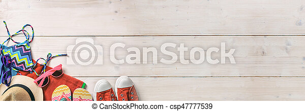 Summer vacation concept on white background - top view - csp47777539